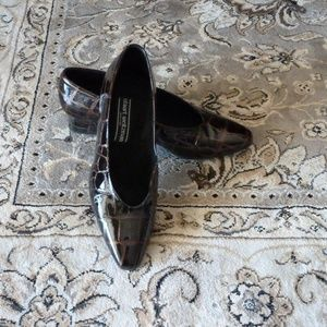 "Brown Croc Pumps 1 1/2"" heel sz 8.5 EUC"